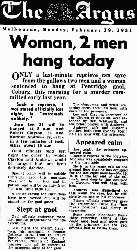 The hanging of Jean Lee as originally reported in The Argus