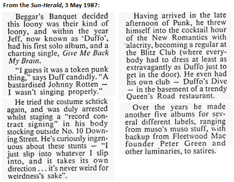 Duff in the press: 1987.05.03 sun-herald